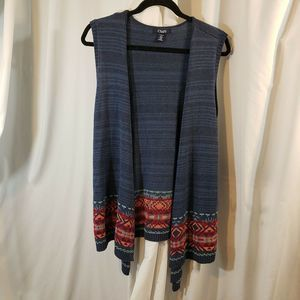 Chaps 1x cardi sweater blue open front southwester
